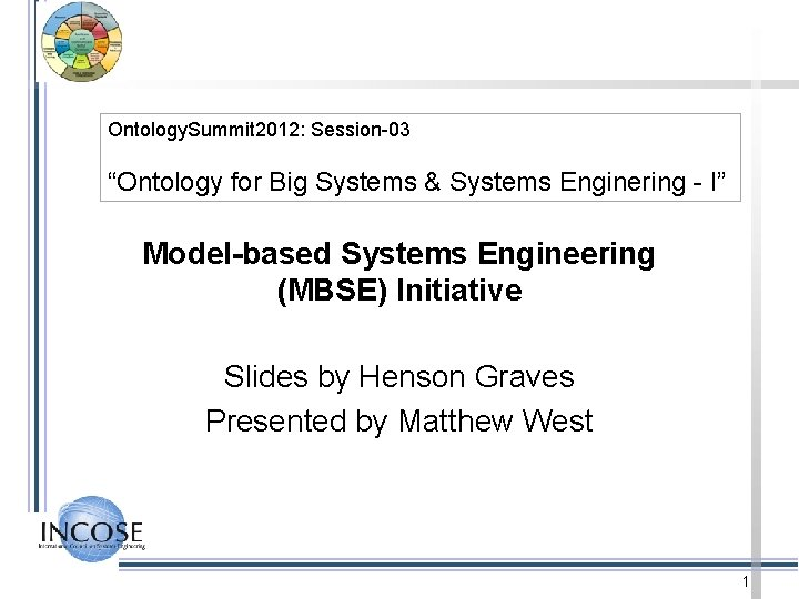 """Ontology. Summit 2012: Session-03 """"Ontology for Big Systems & Systems Enginering - I"""" Model-based"""