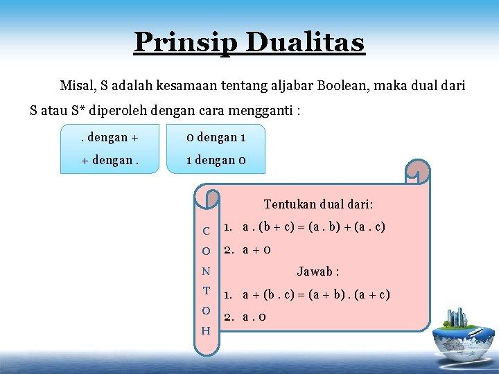 Prinsip Dualitas Misal, S adalah kesamaan tentang aljabar Boolean, maka dual dari S atau
