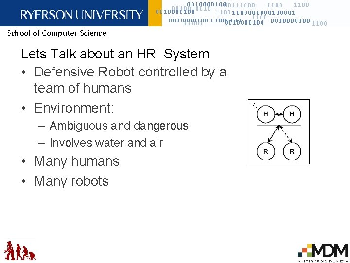 School of Computer Science Lets Talk about an HRI System • Defensive Robot controlled