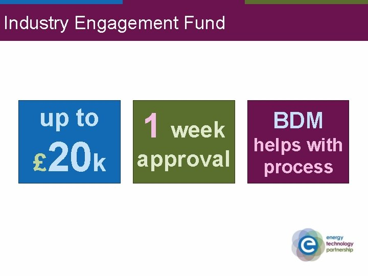 Industry Engagement Fund up to £ 20 k 1 week approval BDM helps with