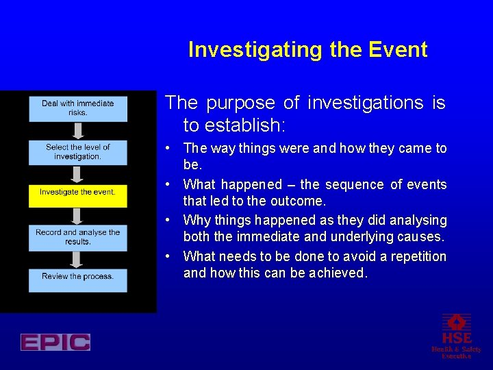 Investigating the Event The purpose of investigations is to establish: • The way things