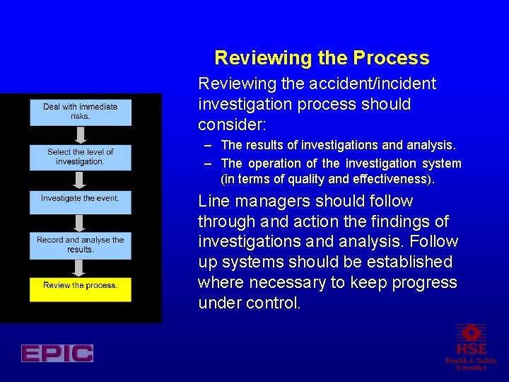 Reviewing the Process Reviewing the accident/incident investigation process should consider: – The results of