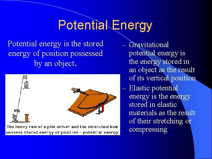 Potential Energy Potential energy is the stored energy of position possessed by an object.