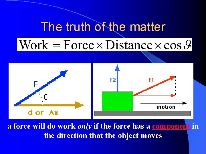 The truth of the matter a force will do work only if the force