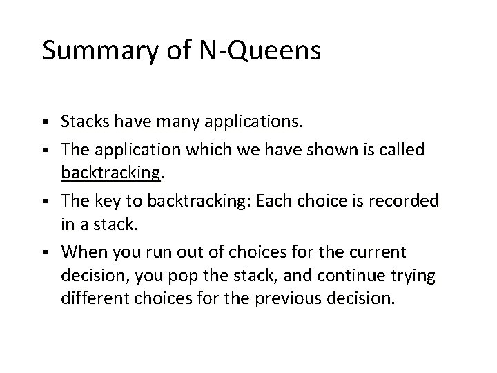 The Queens stack