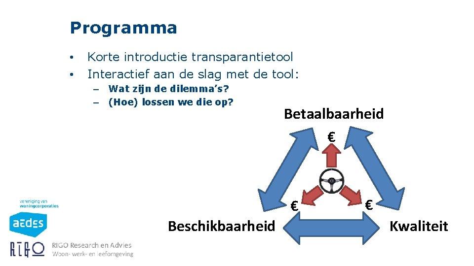 Programma • • Korte introductie transparantietool Interactief aan de slag met de tool: –