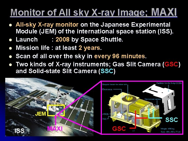 Monitor of All sky X-ray Image; MAXI l l l All-sky X-ray monitor on