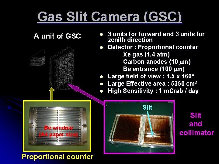 Gas Slit Camera (GSC) A unit of GSC l l l 3 units forward