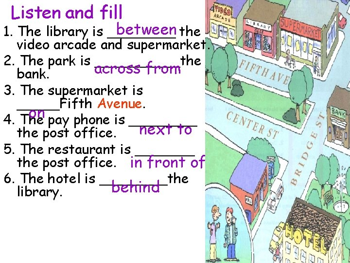 Listen and fill between the 1. The library is ____ video arcade and supermarket.