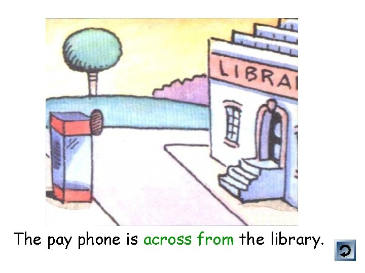 The pay phone is across from the library.