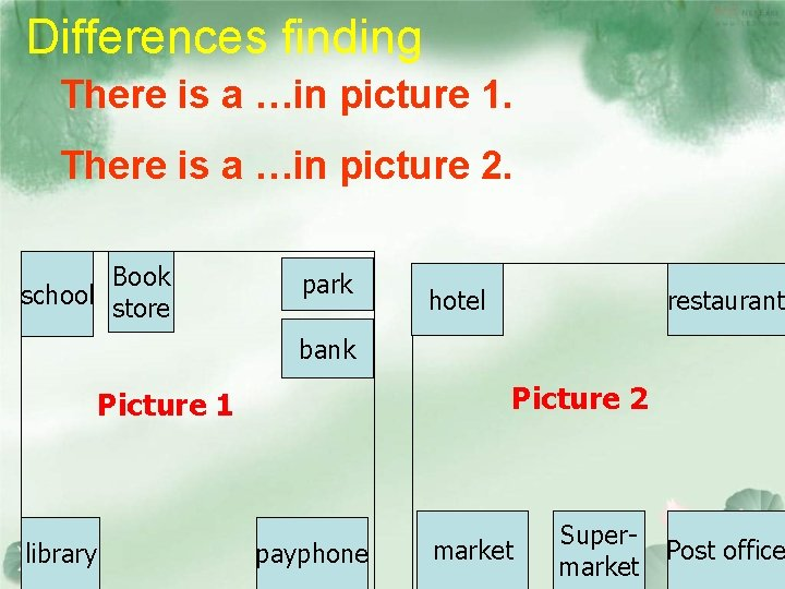 Differences finding There is a …in picture 1. There is a …in picture 2.