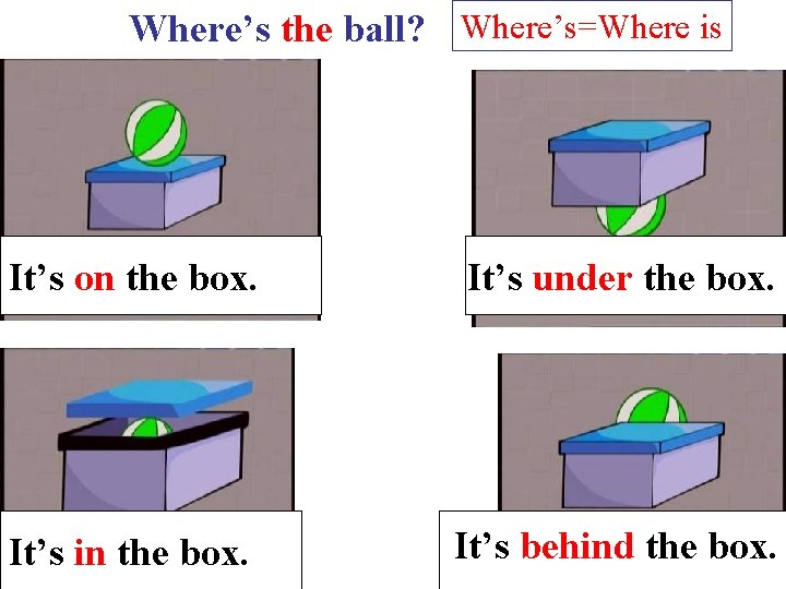 Where's the ball? Where's=Where is It's on the box. It's under the box. It's