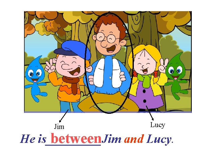 Jim Lucy between and Lucy. He is_____Jim