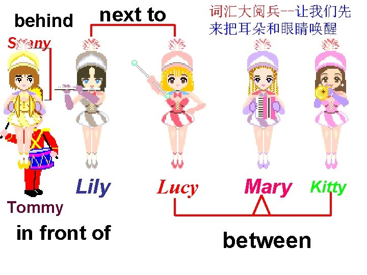 behind next to Sunny Lily Lucy 词汇大阅兵--让我们先 来把耳朵和眼睛唤醒 Mary Kitty Tommy in front of