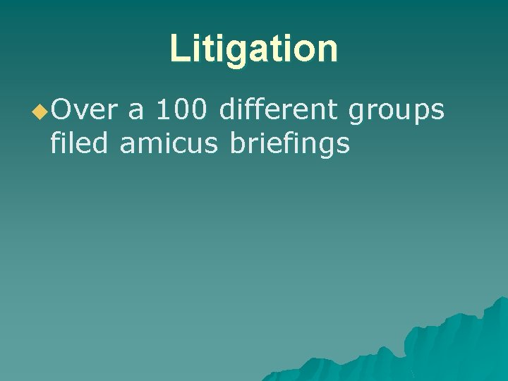 Litigation u. Over a 100 different groups filed amicus briefings