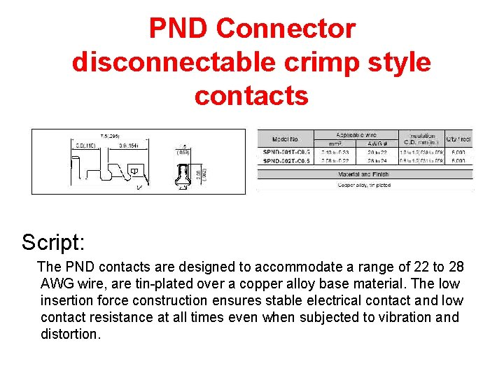 PND Connector disconnectable crimp style contacts Script: The PND contacts are designed to accommodate