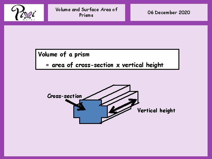 Volume and Surface Area of Prisms 06 December 2020 Volume of a prism =