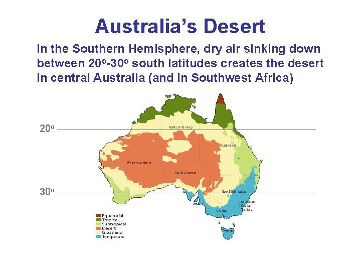 Australia's Desert In the Southern Hemisphere, dry air sinking down between 20 o-30 o