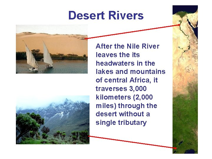 Desert Rivers After the Nile River leaves the its headwaters in the lakes and