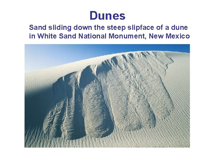 Dunes Sand sliding down the steep slipface of a dune in White Sand National