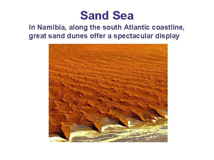 Sand Sea In Namibia, along the south Atlantic coastline, great sand dunes offer a