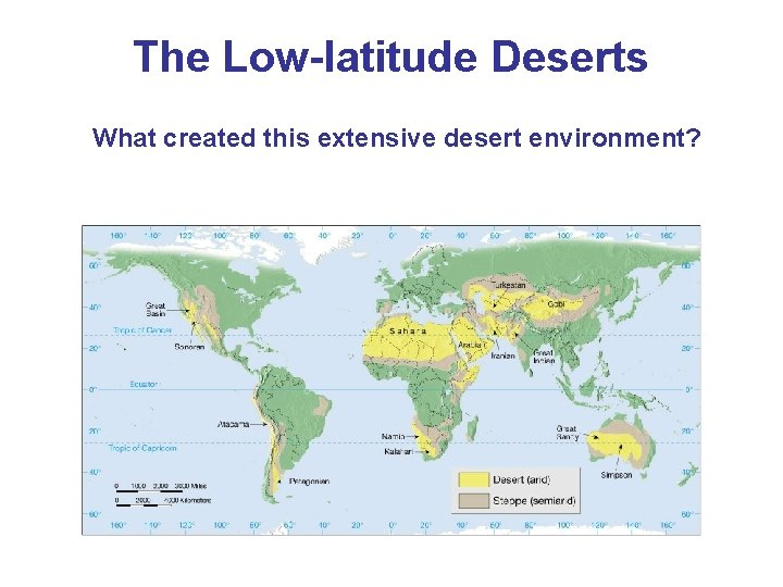 The Low-latitude Deserts What created this extensive desert environment?
