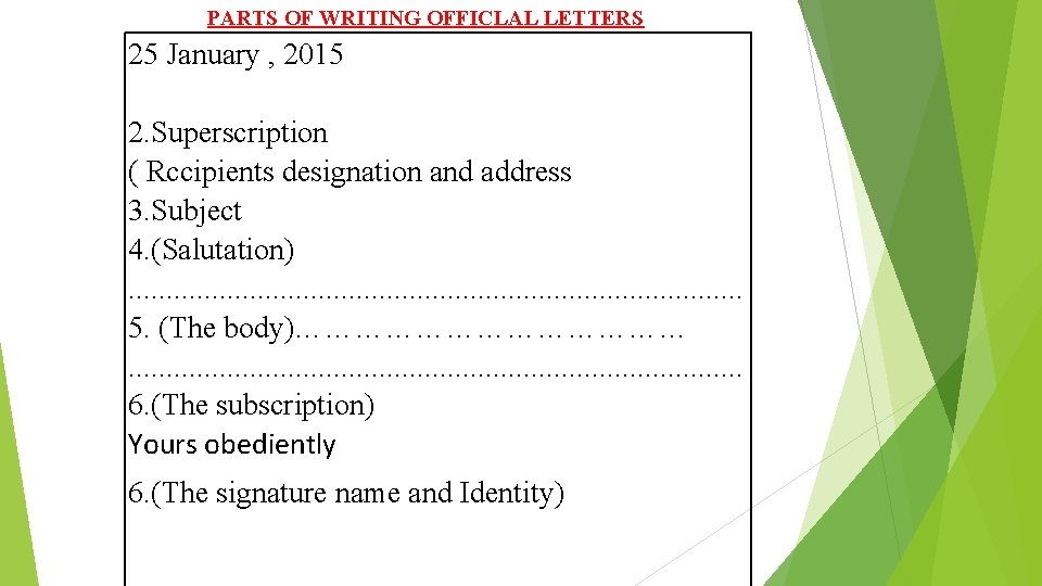 PARTS OF WRITING OFFICLAL LETTERS 25 January , 2015 2. Superscription ( Rccipients designation