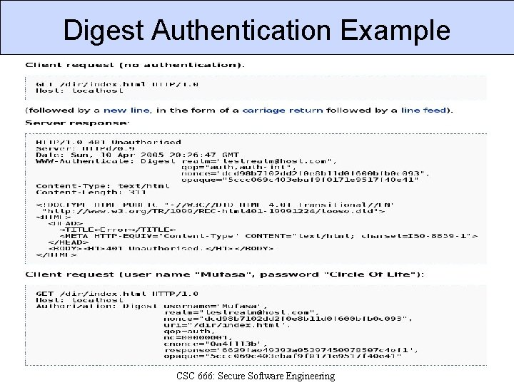 Digest Authentication Example CSC 666: Secure Software Engineering