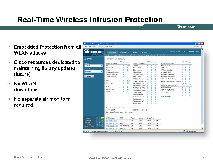 Real-Time Wireless Intrusion Protection • Embedded Protection from all WLAN attacks • Cisco resources