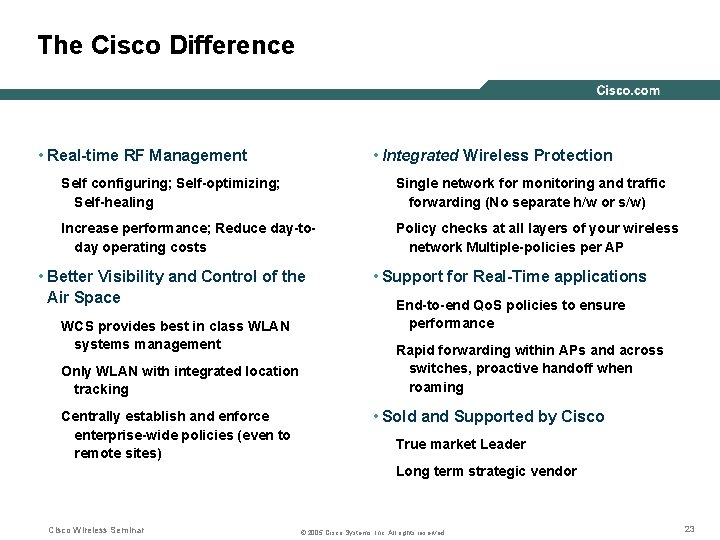The Cisco Difference • Real-time RF Management • Integrated Wireless Protection Self configuring; Self-optimizing;