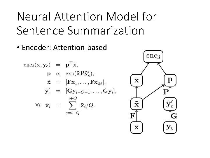 Neural Attention Model for Sentence Summarization • Encoder: Attention-based