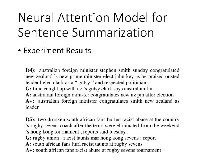 Neural Attention Model for Sentence Summarization • Experiment Results