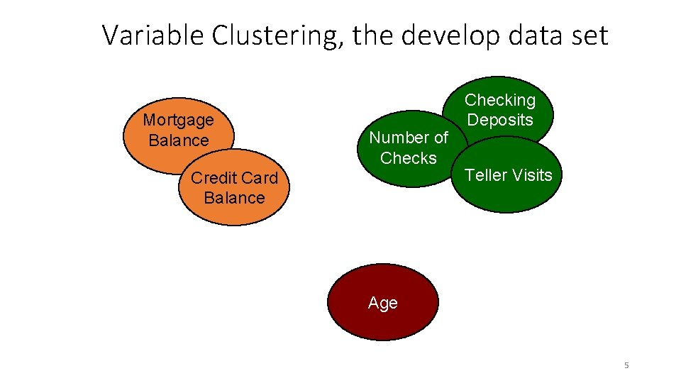 Variable Clustering, the develop data set Mortgage Balance Number of Checks Credit Card Balance