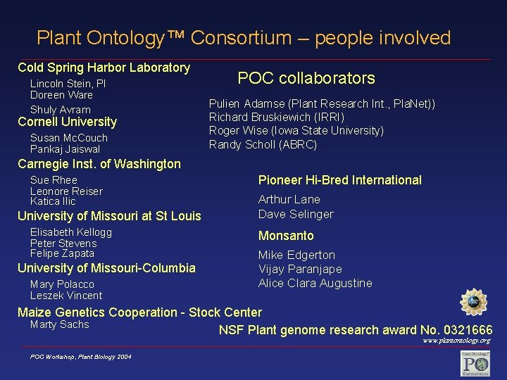 Plant Ontology™ Consortium – people involved Cold Spring Harbor Laboratory Lincoln Stein, PI Doreen