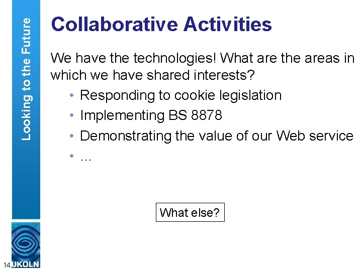 Looking to the Future Collaborative Activities We have the technologies! What are the areas