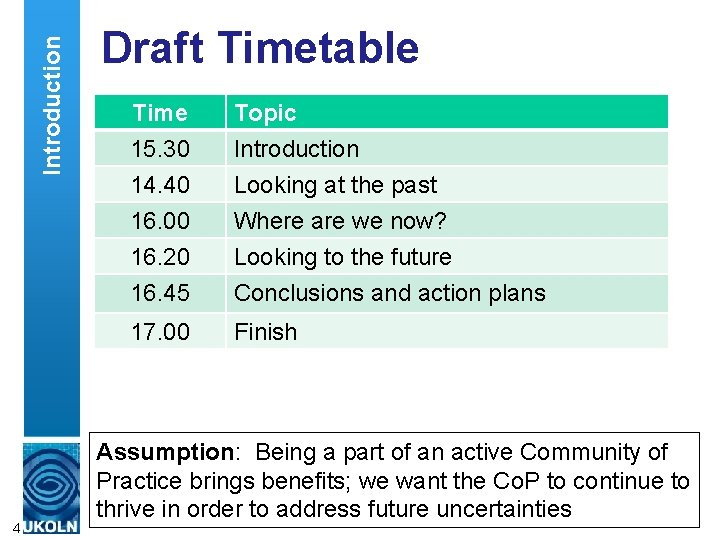 Introduction 4 Draft Timetable Time 15. 30 14. 40 16. 00 16. 20 Topic