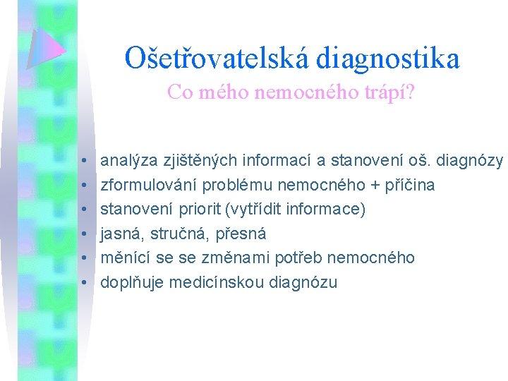 Ošetřovatelská diagnostika Co mého nemocného trápí? • • • analýza zjištěných informací a stanovení