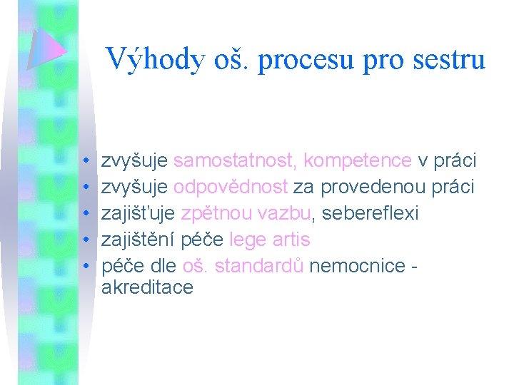 Výhody oš. procesu pro sestru • • • zvyšuje samostatnost, kompetence v práci zvyšuje