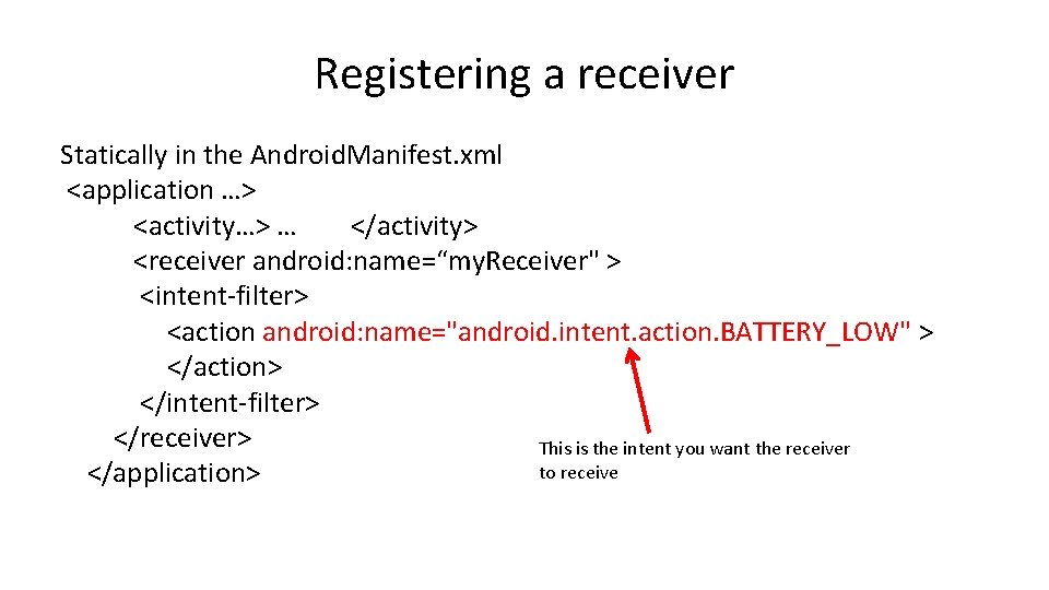 Registering a receiver Statically in the Android. Manifest. xml <application …> <activity…> … </activity>