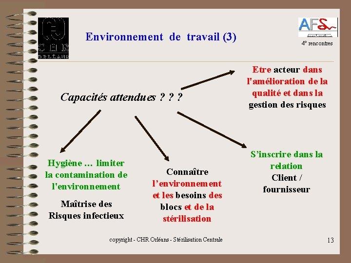 Environnement de travail (3) Capacités attendues ? ? ? Hygiène … limiter la contamination