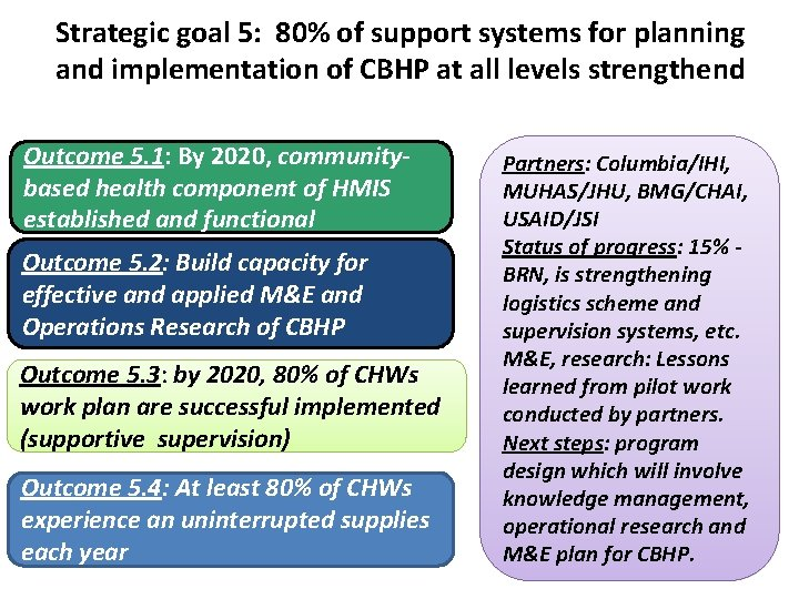 Strategic goal 5: 80% of support systems for planning and implementation of CBHP at