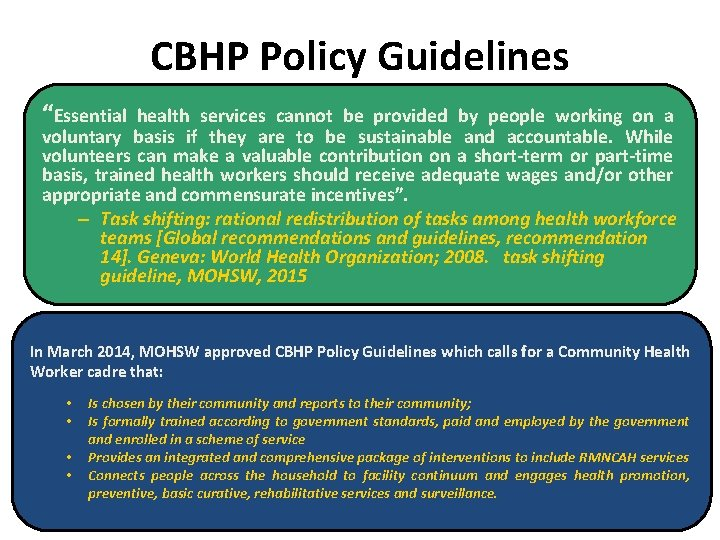 "CBHP Policy Guidelines ""Essential health services cannot be provided by people working on a"