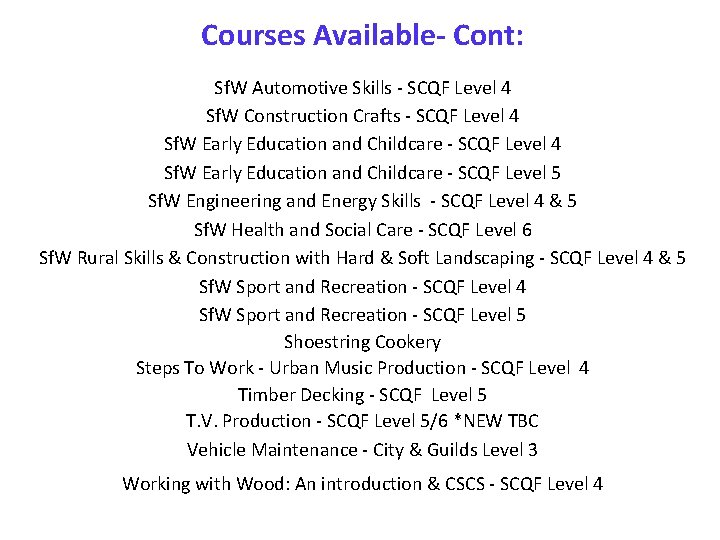 Courses Available- Cont: Sf. W Automotive Skills - SCQF Level 4 Sf. W Construction