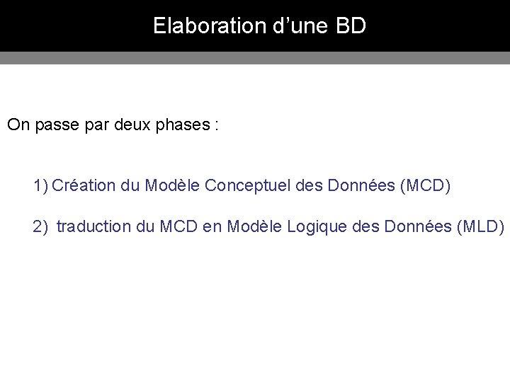 Elaboration d'une BD On passe par deux phases : 1) Création du Modèle Conceptuel