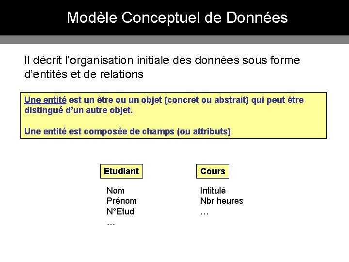 Modèle Conceptuel de Données Il décrit l'organisation initiale des données sous forme d'entités et