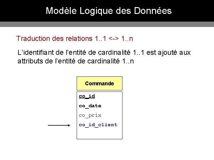 Modèle Logique des Données Traduction des relations 1. . 1 <-> 1. . n