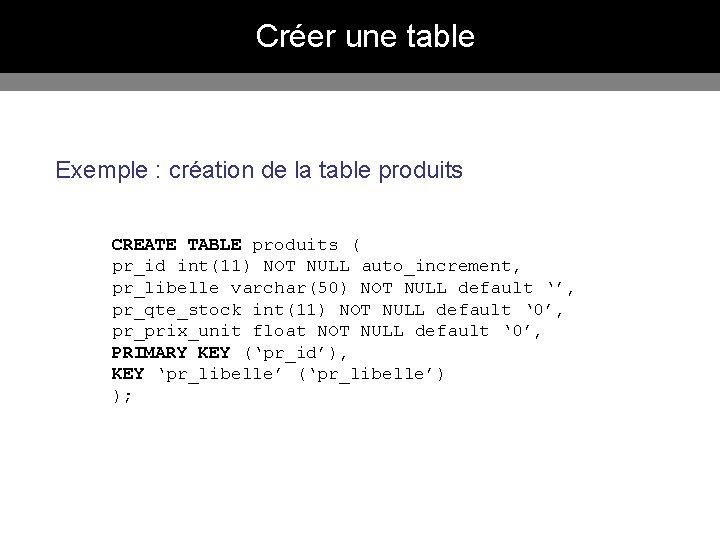 Créer une table Exemple : création de la table produits CREATE TABLE produits (