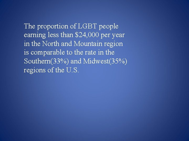 The proportion of LGBT people earning less than $24, 000 per year in the