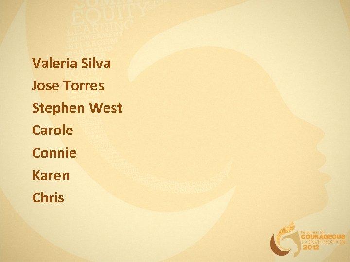 Valeria Silva Jose Torres Stephen West Carole Connie Karen Chris
