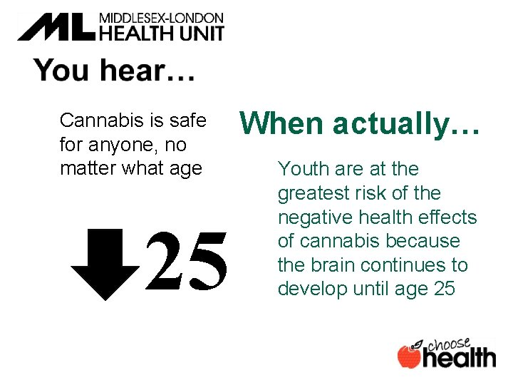 Cannabis is safe for anyone, no matter what age 25 When actually… Youth are
